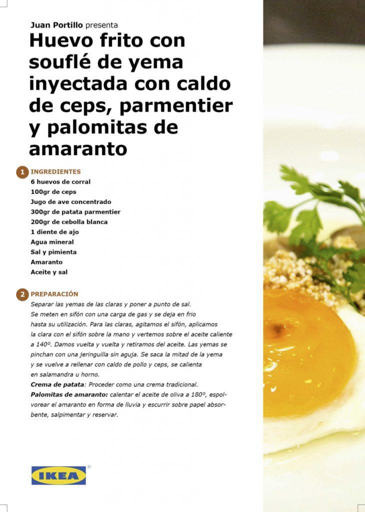 Receta - Huevo frito con souflé de yema inyectada con caldo de ceps, parmentier y palomitas de amaranto, por Juan Portillo en #algosecocinaenIKEA