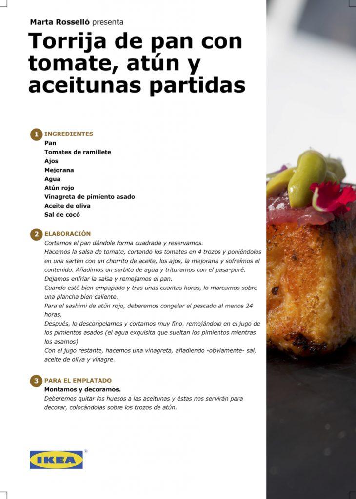 Receta - Torrija de pan con tomate, atún y aceitunas partidas, por Marta Rosselló en #algosecocinaenIKEA