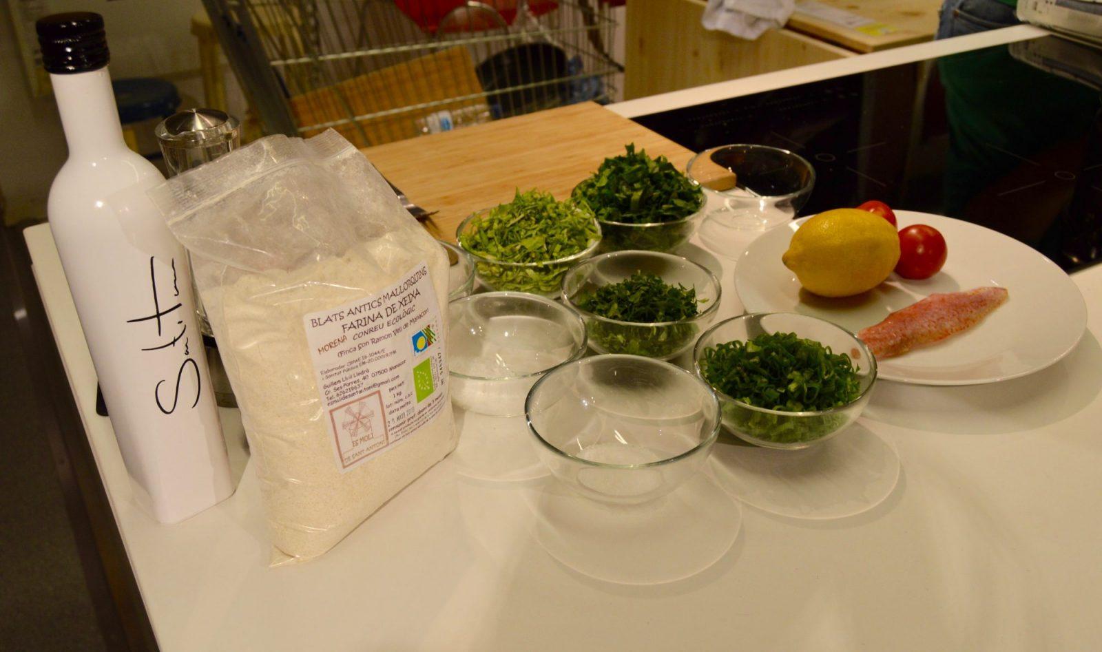 Ingredientes de la coca de verduras