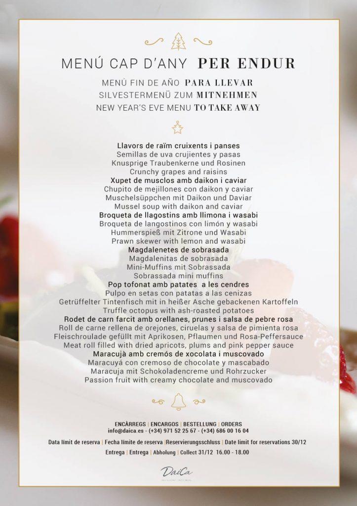 Menú de nochevieja 2016/2017 PARA LLEVAR del restaurante Daica