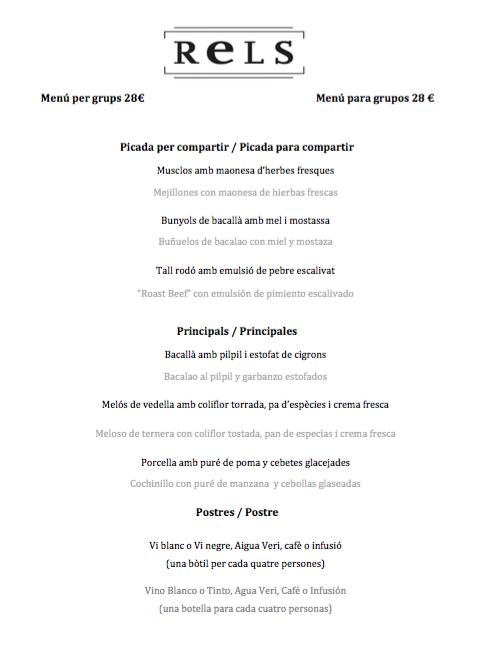 Menú para grupos en Resl Restaurant