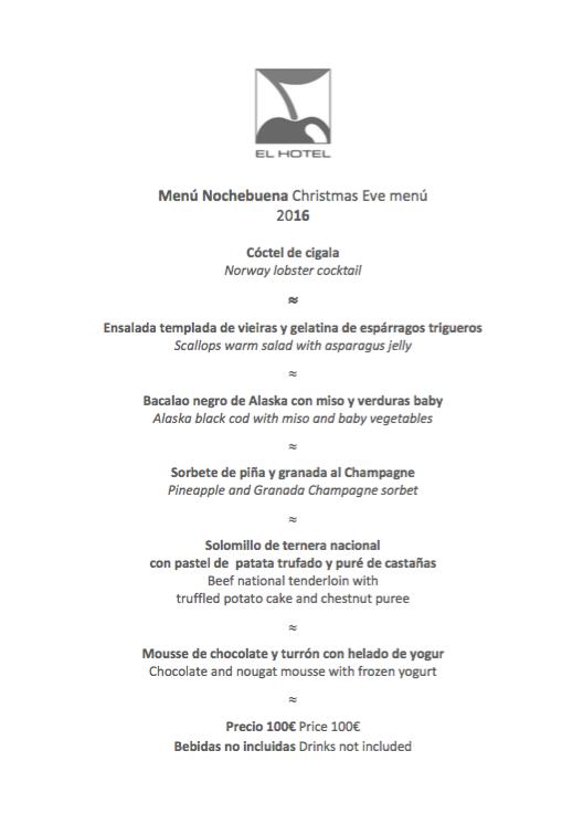 Menú de Nochebuena en el Hotel Pacha Ibiza