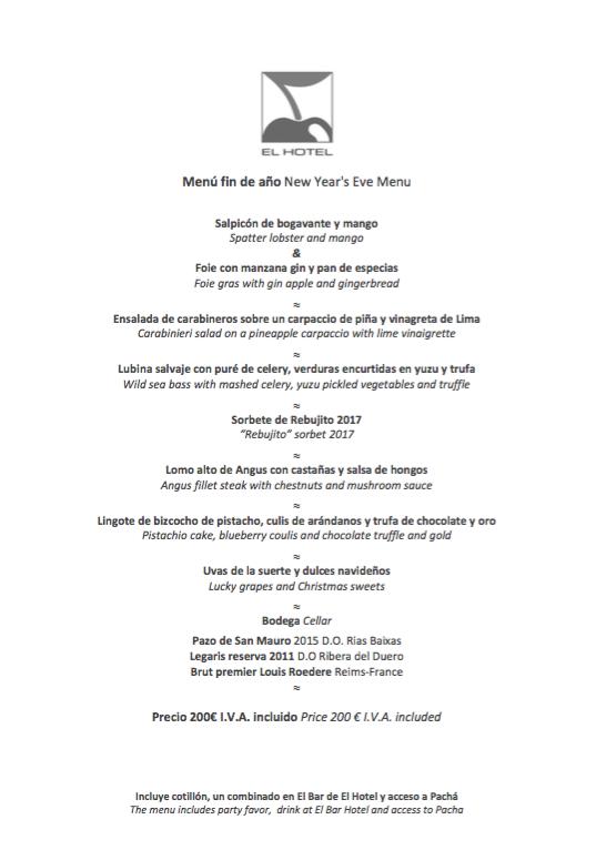 Menú de Nochevieja en el Hotel Pacha Ibiza
