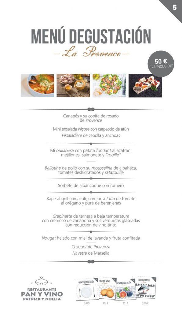 Menu La Provence de Patrick James (Pan y Vino)