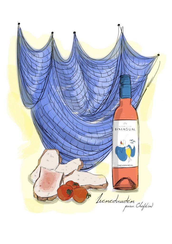 Ilustración de Irene Daudén para Chefs(in) - Hidden Kitchen con Caterina Pieras en Gerhardt Braun Gallery