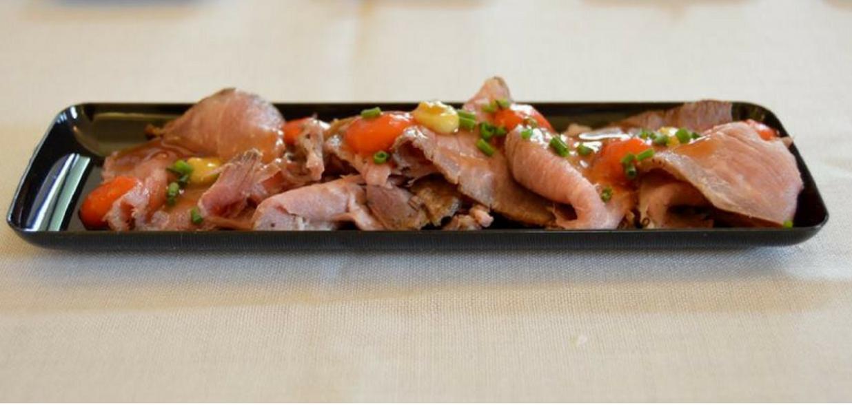 Tataki de presa de cerdo, por Joan Bagur para el Peccata Minuta de Chefsin en Menorca 2017