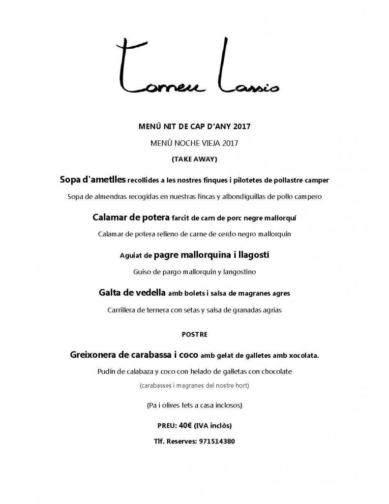 Tomeu Lassio Restaurant - menu nochevieja 2017 take away